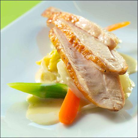 Kyllingfilet med kål og kremet soppsaus