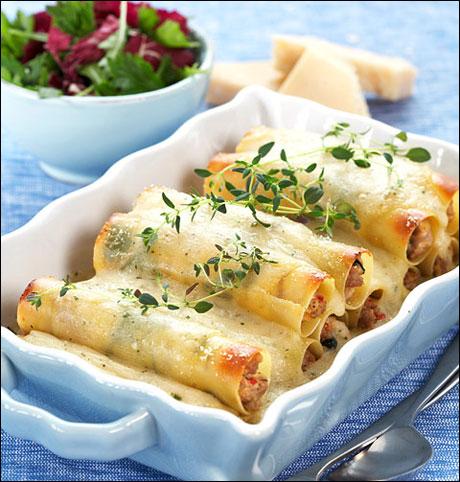Fylte cannelloni med kjøtt og spinat