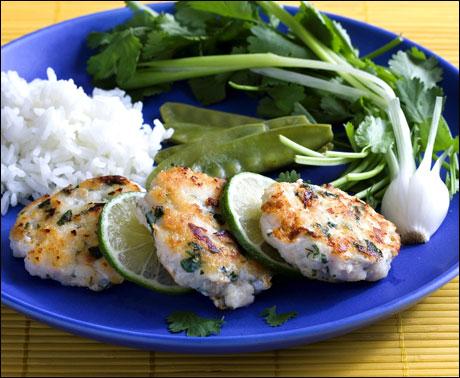 Asiatiske fiskekaker med ris