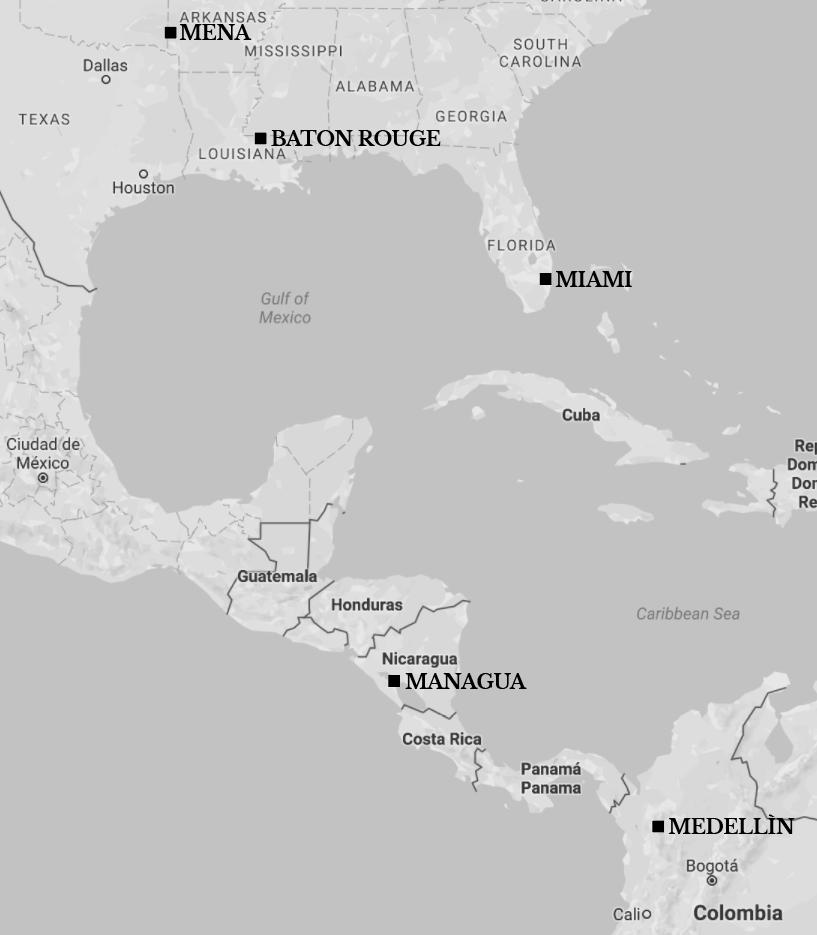 Kart over steder som nevnes i teksten