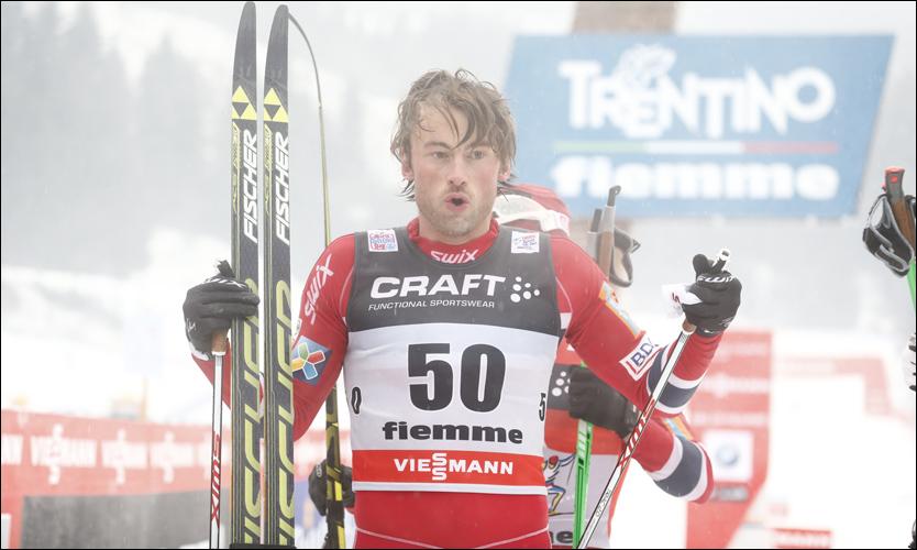 RÅSTERK: Petter Northug vartet opp med en fantastisk avslutning og vant i Val di Fiemme foran Martin Johnsrud Sundby, Chris Jespersen og Sjur Røthe. Foto: Mattis Sandblad, VG