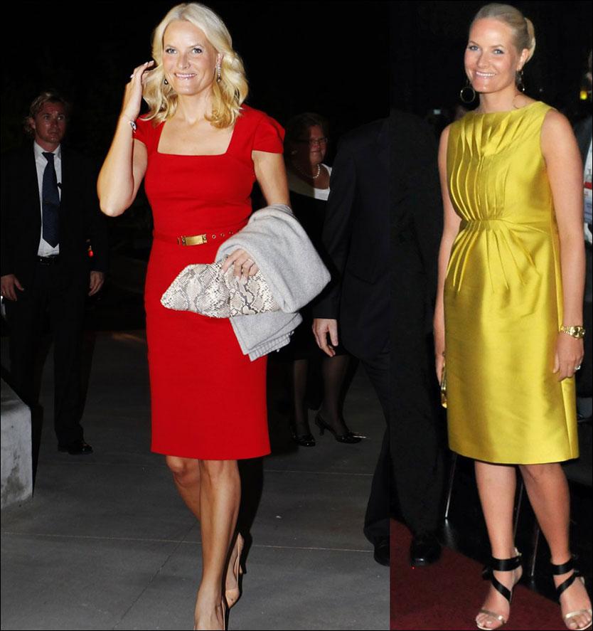 ETT ÅRS FORSKJELL: Bilde til venstre viser kronprinsesse Mette-Marit i Miami i helgen, mens bildet til høyre er tatt for ett år siden i Wien. Foto: Scanpix