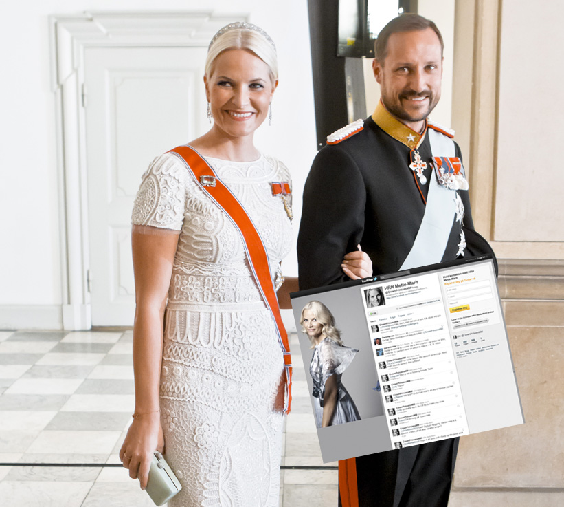 TWITTER-PRINSESSE: Kronprinsesse Mette-Marit har f&aring;tt sin egen konto p&aring; Twitter. Her er kronprinsparet p&aring; kongelig fest i Danmark sist helg. Foto: Scanpix/Twitter