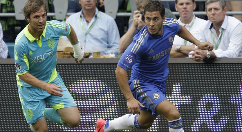 SCORET: Eden Hazard spilte fra start da Chelsea m&oslash;tte Seattle Sounders natt til torsdag norsk tid. Foto: Ap/ Ted S. Warren