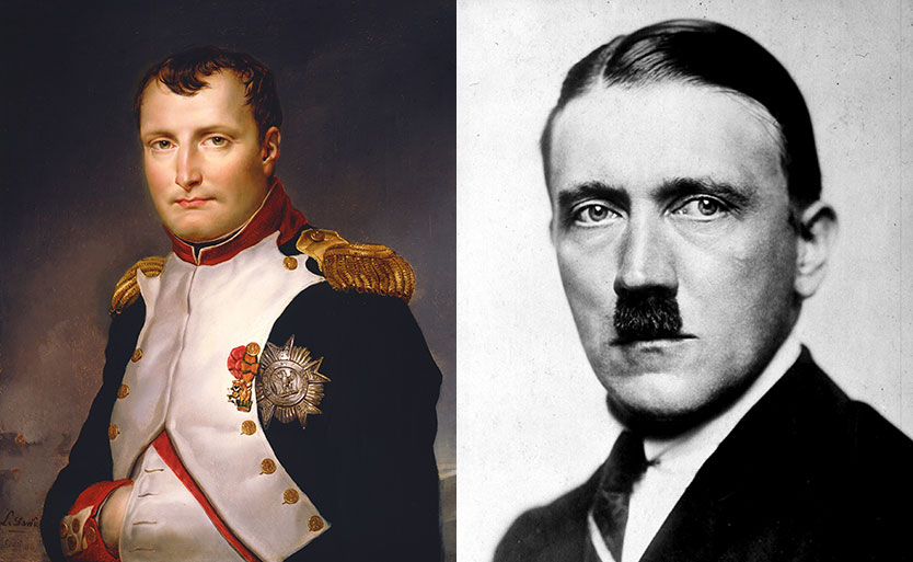 HÆRFØRERE: Diktator Adolf Hitler rangeres på sjuende plass og artillerioffiser Napoleon Bonaparte på andre plass. Foto: PA og AFP PHOTO / COLLINS FINE ART, LTD, NEW YORK / RICHARD COLLINS