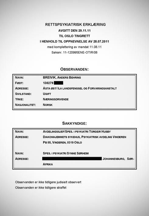 Les de psykiatriske rapportene om Breivik - VG Nett